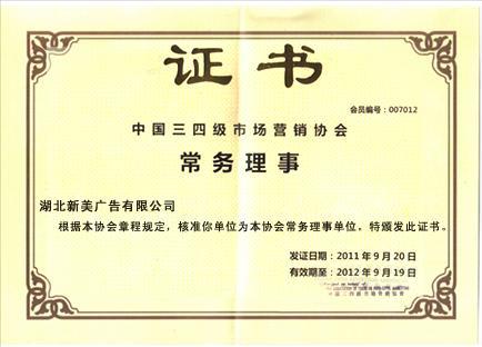 中国三四级市场营销协会常务理事